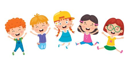 Group Of Funny Children Jumping Ilustracja