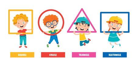 Funny Children Learning Basic Shapes Vecteurs