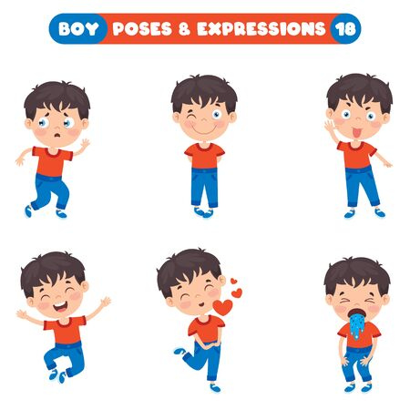 Poses And Expressions Of A Funny Boy