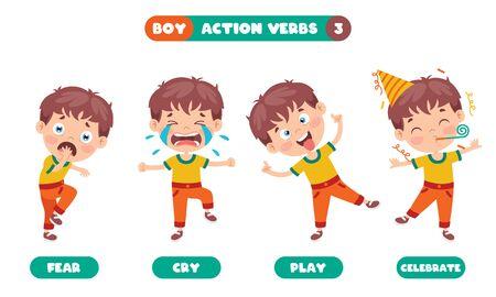 Action Verbs For Children Education Vetores