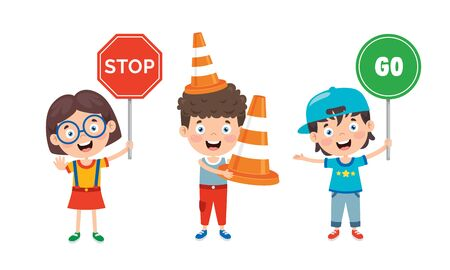 Traffic Concept With Funny Characters Vettoriali