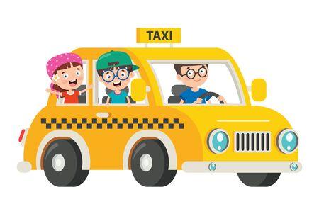 Cartoon Characters Travelling With Vehicle Ilustração