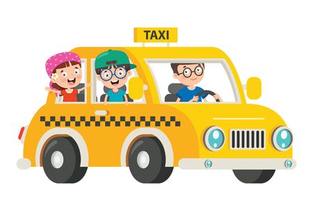 Cartoon Characters Travelling With Vehicle Illustration