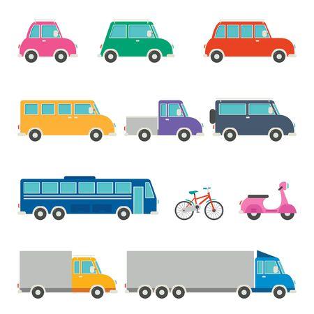 Set Of Various Cartoon Vehicles