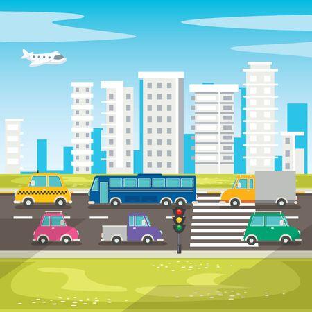 Set Of Various Cartoon Vehicles Stock Illustratie