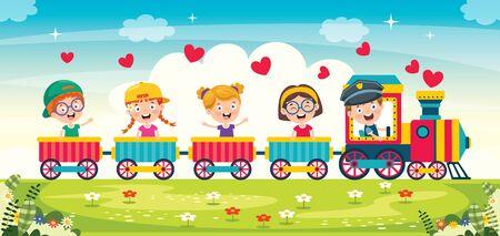 Funny Children Riding On The Train Vettoriali
