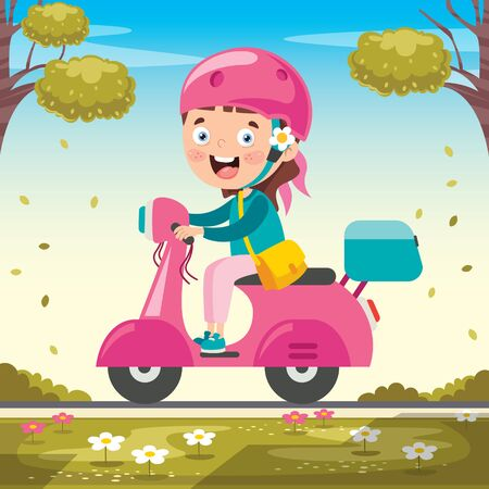 Funny Kid Driving Colorful Motorcycle