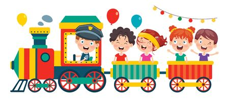 Funny Children Riding On The Train Иллюстрация