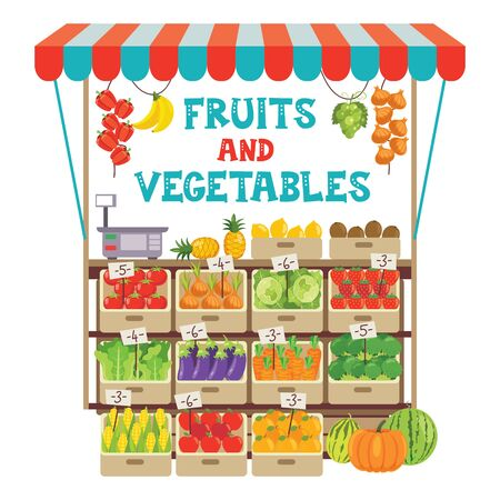 Green Grocer Shop With Various Fruits And Vegetables