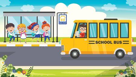 Happy Children And School Bus Ilustración de vector