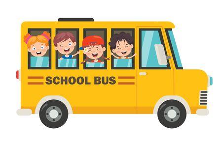 Niños felices y autobús escolar Ilustración de vector