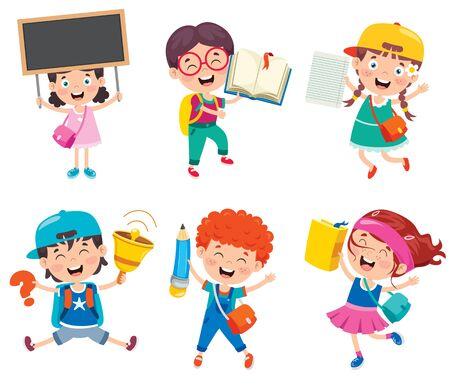 heureux, mignon, dessin animé, écoliers