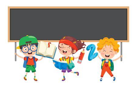 Happy Cute Cartoon School Children Vector Illustration