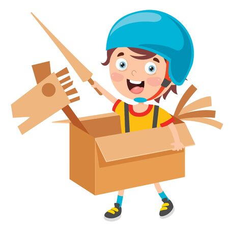 Happy Kid jouant avec des costumes en carton