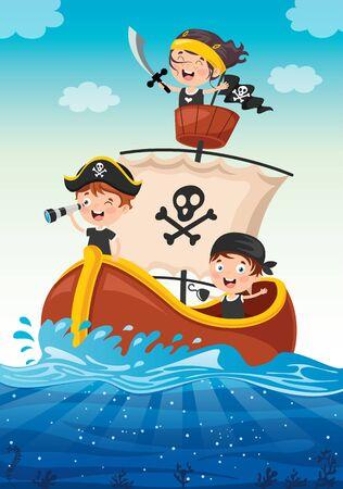 Cute Little Pirate Children Posing