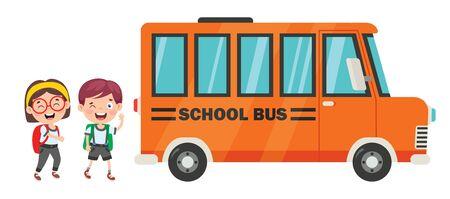 Happy Children And School Bus Vettoriali