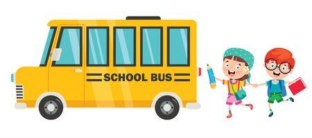 Happy Children And School Bus Ilustração