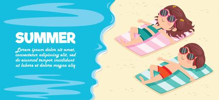 Cartoon Character Sunbathing On The Beach Ilustración de vector