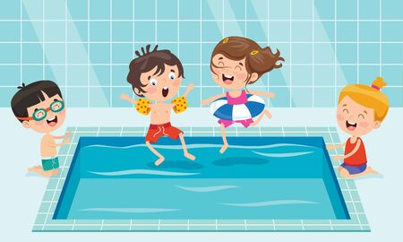 Funny Children And Swimming Pool
