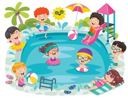 Funny Children And Swimming Pool Vector Illustratie