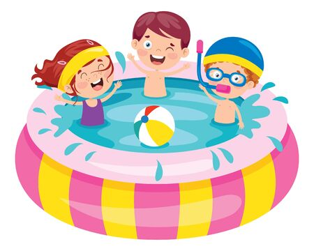 Children Swimming In An Inflatable Pool