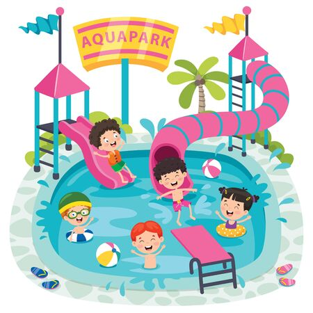 Children Swiimming In An Aqua Park
