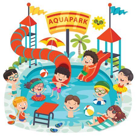Children Swiimming In An Aqua Park