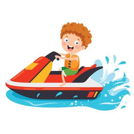 Funny Cartoon Character Riding Jet Ski