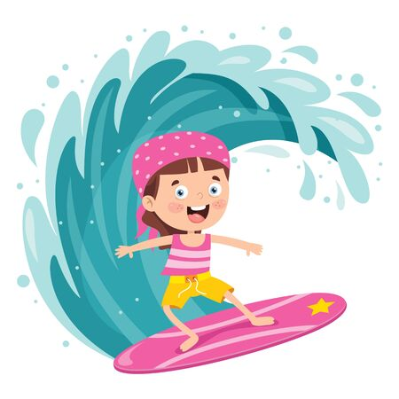 Happy Cartoon Character Surfing At Sea Ilustrace