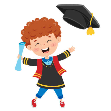 Cartoon Happy Kid In Graduation Costume