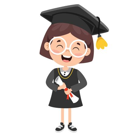 Cartoon Happy Kid In Graduation Costume Vector Illustratie