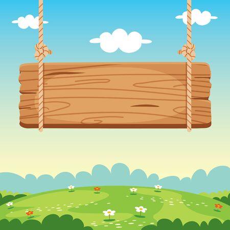 Blank Wooden Sign Board Illustration