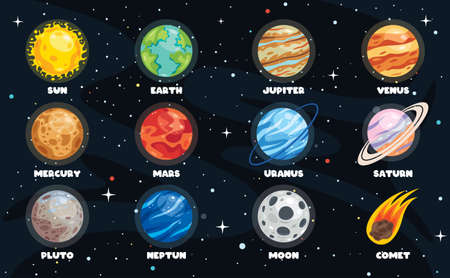 Colorful Planets Of Solar System