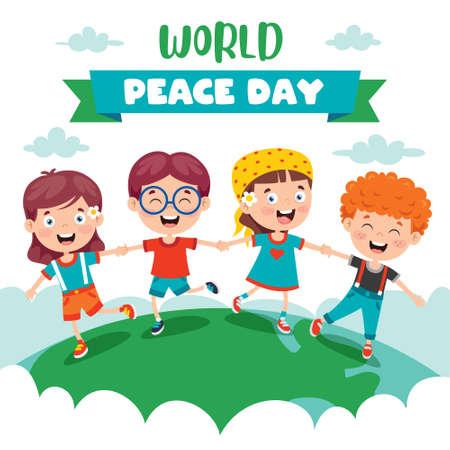 Children Celebrating World Peace Day Vecteurs