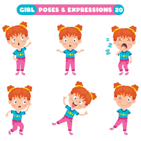 Little Girl With Different Poses