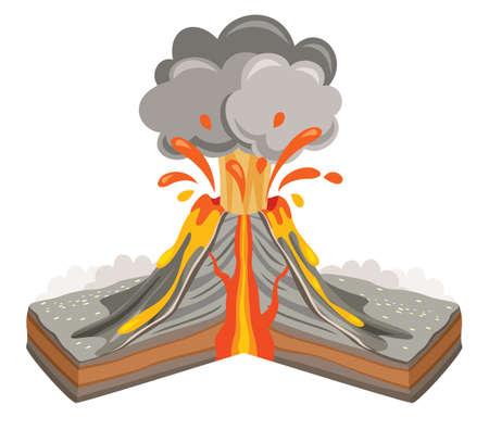 Volcano Eruption And Lava Drawing Vettoriali