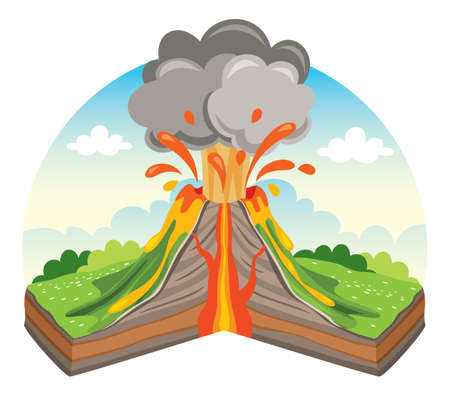 Volcano Eruption And Lava Drawing Illustration