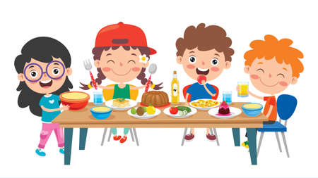 Little Children Eating Healthy Food