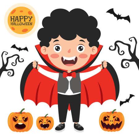 Happy Funny Child Celebrating Halloween Vektorové ilustrace