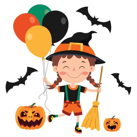 Happy Funny Child Celebrating Halloween Ilustración de vector