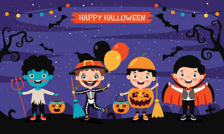 Happy Funny Children Celebrating Halloween 矢量图像
