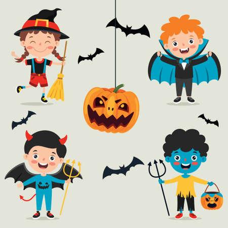Halloween Design With Cartoon Character Ilustracje wektorowe