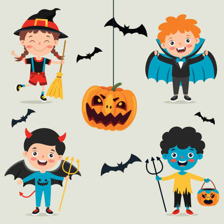 Halloween Design With Cartoon Character Vector Illustratie