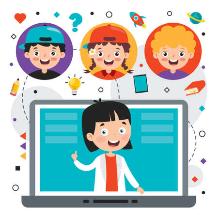 Online Learning Concept With Cartoon Character