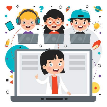Online Learning Concept With Cartoon Character Vetores