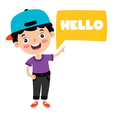 Funny Child Presenting And Pointing Ilustración de vector