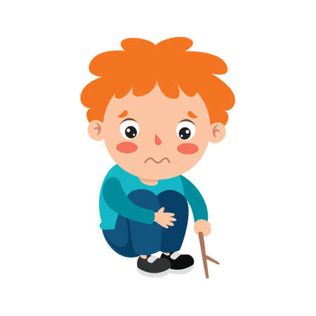 Poses And Expressions Of A Funny Boy Ilustración de vector