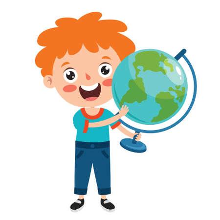 Funny Little School Kid Character