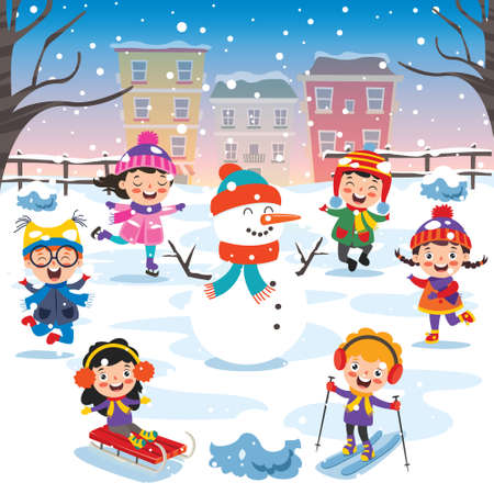 Funny Kids Playing At Winter