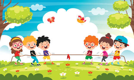 Funny Kids Playing Pulling Rope Illustration